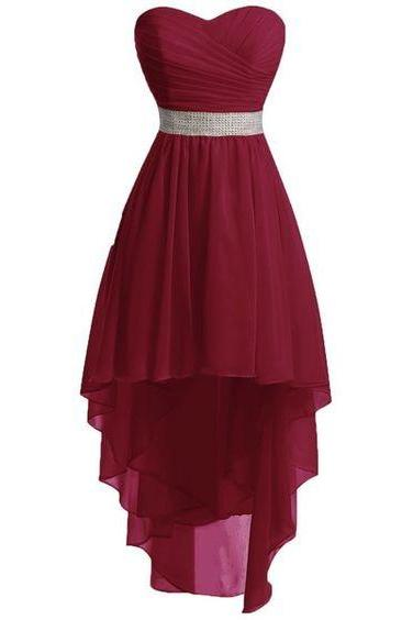 Prom Dresses,High Low Prom Dress,Formal Gown,Burgundy Red Prom Dresses,Evening Gowns,Chiffon Formal Gown For Teens