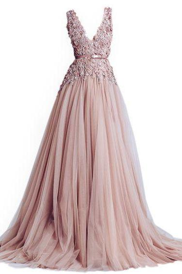 Blush Pink Floral Lace Appliqués Plunge V Floor Length Tulle Formal Dress, Prom Dress