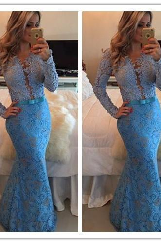 Lace Prom Dresses,Blue Prom Dress,Modest Prom Gown,Blue Prom Gown,Evening Dress,Backless Evening Gowns,Party Gowns