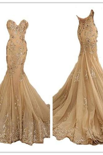 Gold Prom Dresses,Charming Evening Dress,Gold Prom Gowns,Gold Mermaid Prom Dresses,New Prom Gowns,Gold Evening Gown,Lace Party Dresses
