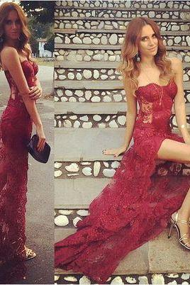 Wine Red Prom Dresses,Charming Evening Dress,Prom Gowns,Lace Prom Dresses,New Prom Gown,Burgundy Evening Gown,Party Dresses