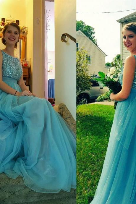 Light Blue Prom Dresses,Tulle Prom Dress,Prom Gown,Beaded Prom Dresses,Evening Gowns,New Evening Dresses