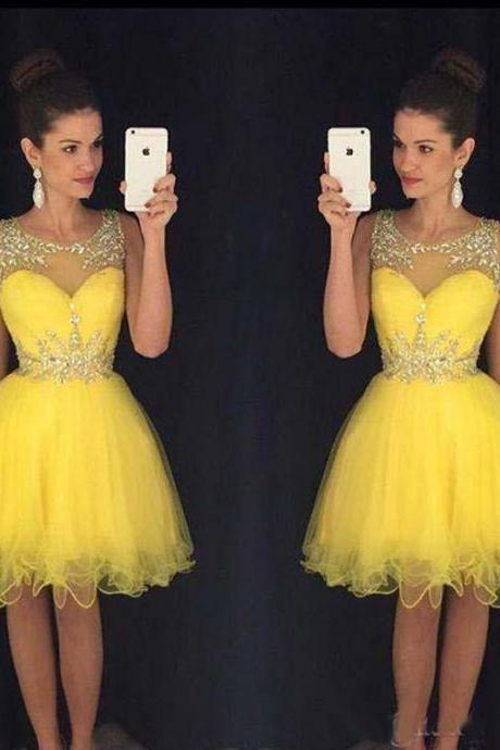 Homecoming Dress,Homecoming Dresses,Sweet 16 Dress,Homecoming Dress,Yellow Cocktail Dress