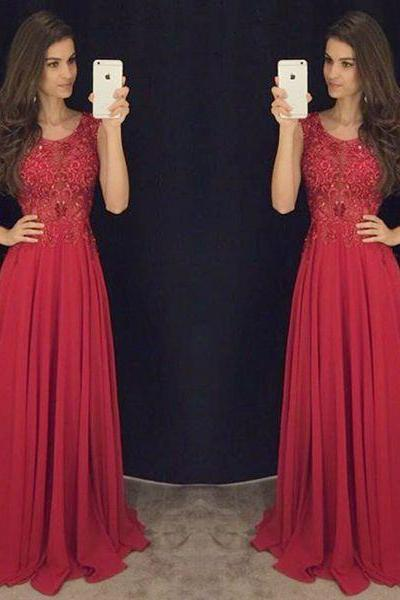 Red lace prom dresses,A-line chiffon long prom dress, evening formal gowns ,wedding dresses