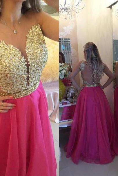 Prom Dresses,Charming Evening Dress,Prom Gowns,Lace Prom Dresses,New Prom Gowns,Gold Evening Gown,Backless Party Dresses