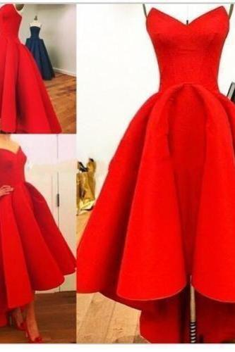 High Low Prom Dresses,Red Prom Gown,Vintage Prom Gowns,Elegant Evening Dress,Cheap Evening Gowns,Simple Party Gowns,Modest Prom Dress
