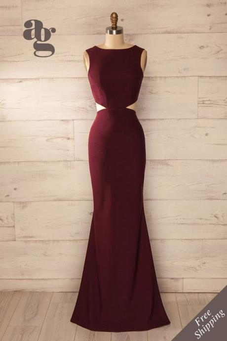 Charming Prom Dress,Burgundy Prom Dress,Sexy Backless Prom Dress,Long Prom Dress,Evening Formal Dress,Women Dress