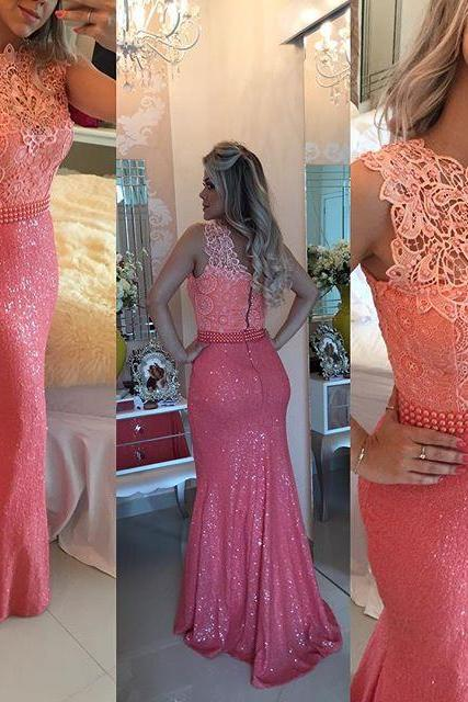 Elegant Mermaid Lace Coral Prom Dresses,High Neck Sweep Train Sequins Formal Evening Gowns