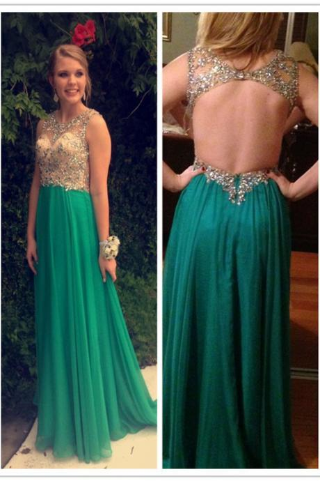 Crytals Beaded Long Chiffon Prom Dress O Neck Floor Length Sexy Backless Green Summer Prom Dress