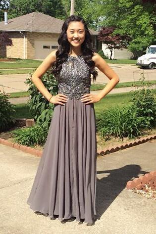 Charming Grey Chiffon Prom Dress,Backless Prom Dress,Long Prom Dresses,Sexy Prom Dress