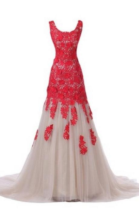 Red Prom Dresses,Mermaid Prom Dress,Red Prom Gown,Lace Prom Gowns,Elegant Evening Dress,Modest Evening Gowns,Simple Party Gowns,lace Prom Dress