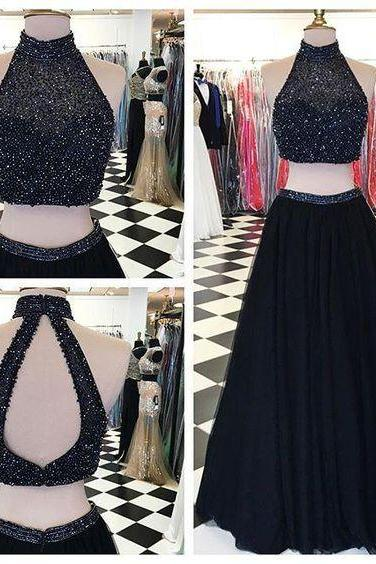 Two-Piece Formal Dress Featuring Beaded Embellished High Halter Neck Crop Top and Floor Length Tulle A-Line Skirt
