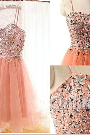 Blush Pink Homecoming Dress,Homecoming Dresses,Beading Homecoming Gowns,Short Prom Gown,Blush Pink Sweet 16 Dress,Homecoming Dress,Cocktail Dress,Evening Gowns