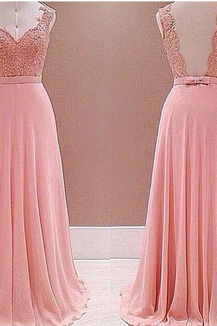 Pink Lace Appliqués Sweetheart Shoulder Straps Floor Length Chiffon A-Line Evening Dress Featuring Bow Accent Belt and Open Back, Prom Dress
