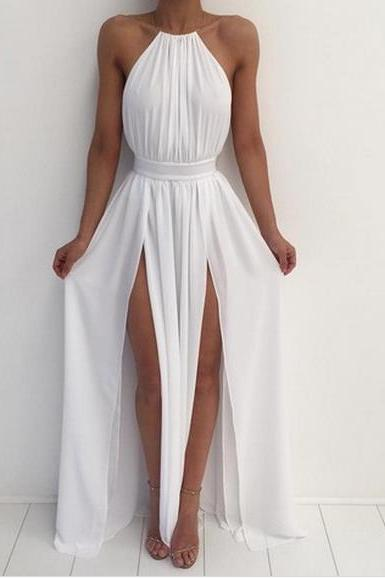 white Prom Dresses,Split Prom Dress,Chiffon Prom Dress,Long Prom Dresses,Formal Gown,Slit Evening Gowns For Teens