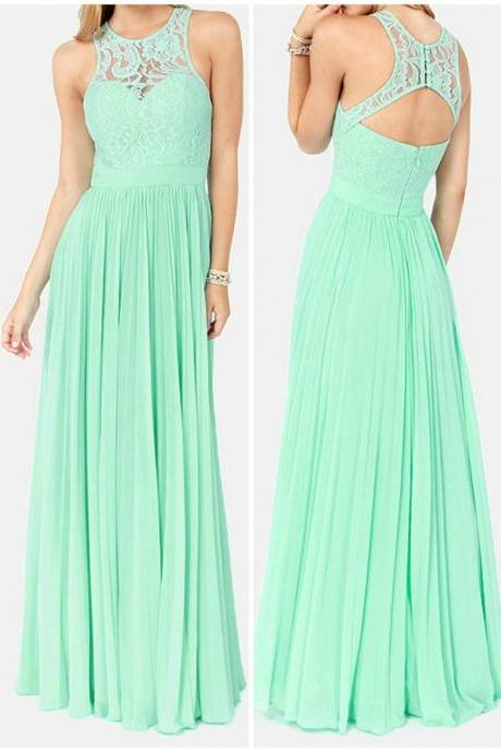 Mint Green Prom Dresses,Evening Dresses,New Fashion Prom Gowns,Elegant Prom Dress,Lace Prom Dresses,Chiffon Evening Gowns,High Neck Formal Dress