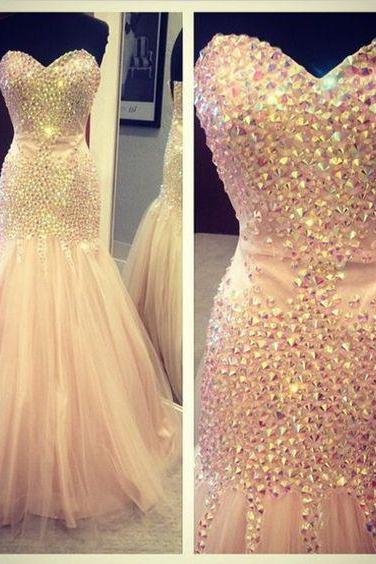 Prom Gown,Prom Dresses,Sparkle Evening Gowns,Mermaid Formal Dresses,Pink Prom Dresses,Tulle Evening Gowns,Prom Gowns