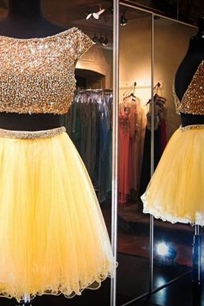 2 Piece Homecoming Dresses,Beading Homecoming Gowns,Short Prom Gown,Sweet 16 Dress,Bling Homecoming Dress,2 pieces Cocktail Dress,Yellow Evening Gowns