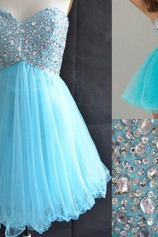 Blue Homecoming Dress,Tulle Homecoming Dresses,Sparkly Homecoming Gowns,Fashion Prom Gown,Sweetheart Sweet 16 Dress,Crystals Homecoming Dresses,Tulle Cocktail Dress,Parties Gowns,Evening Gowns