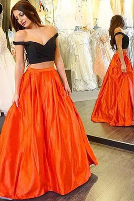 Prom Dresses,Prom Dress,Black Prom Gown,2 Pieces Prom Gowns,Elegant Evening Dress,Modest Evening Gowns,2 Piece Party Gowns,Black Prom Dress