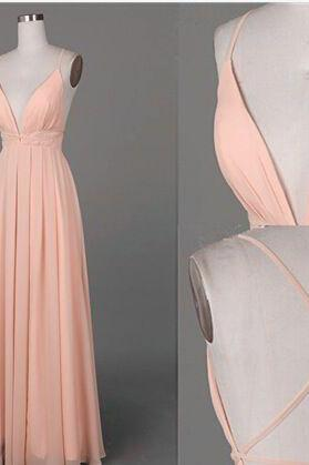 Pink Prom Dresses,Long Prom Gown,Chiffon Prom Gowns,Simple Bridal Dress,Evening Dress,Elegant Formal Dress,Backless Prom Gowns