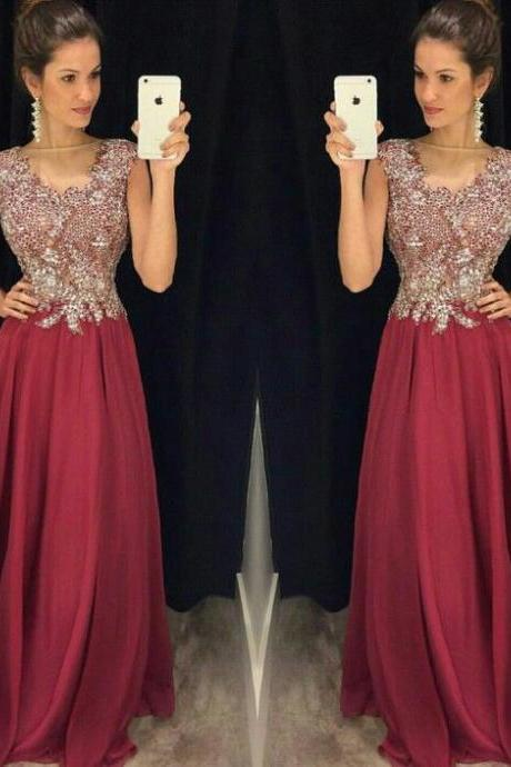 Burgundy Prom Dresses,Wine Red Prom Dress,Prom Dress,Wine Red Prom Dresses,Slit Formal Gown,Simple Evening Gowns,Modest Party Dress,Chiffon Prom Gown For Teens