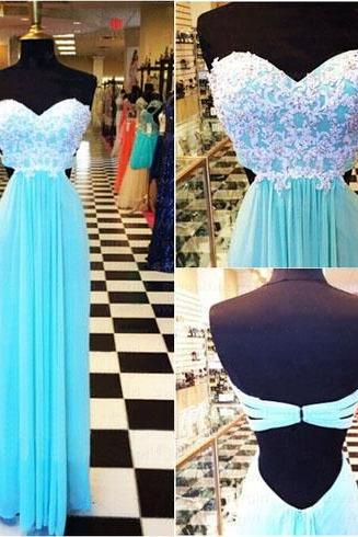Lace Prom Dresses,Blue Prom Dress,Modest Prom Gown,A Line Prom Gown,Evening Dress,Chiffon Evening Gowns,Party Gowns