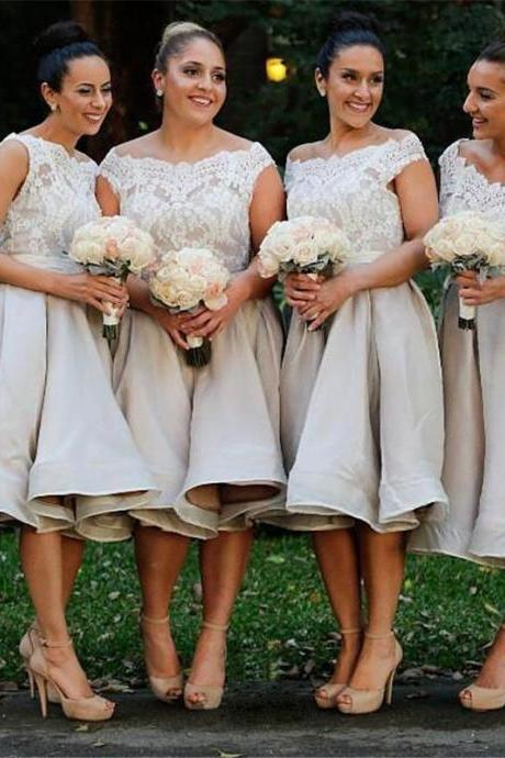 Bridesmaid Gown,White Bridesmaid Dresses,Short Bridesmaid Gown,Summer Bridesmaid Gowns,Beach Bridesmaid Dress,Cheap Bridesmaid Gown,Lace Bodice Bridesmaid Dress,Bridesmaid Gowns For Modest Brides