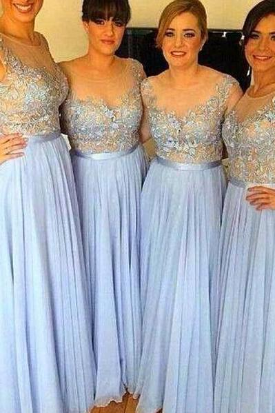 Customisable Light Blue Lace Appliqe Chiffon Floor Length A-Line Bridesmaid Dresses