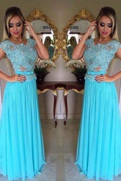 empire wasit light sky blue prom dress