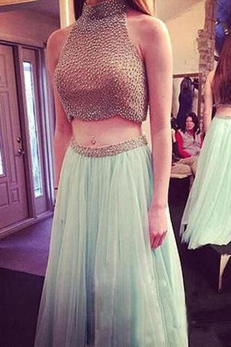 2 Piece Prom Gown,Two Piece Prom Dresses,Mint Evening Gowns,2 Pieces Party Dresses,Chiffon Evening Gowns,Backless Formal Dress,Sparkly Evening Gowns For Teens