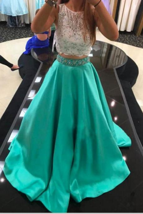 Mint Green Prom Dresses, 2 Piece Prom Gowns,2 piece Prom Dresses,Lace Prom Dresses,Mermaid Prom Gown,Prom Dress With Lace For Teens