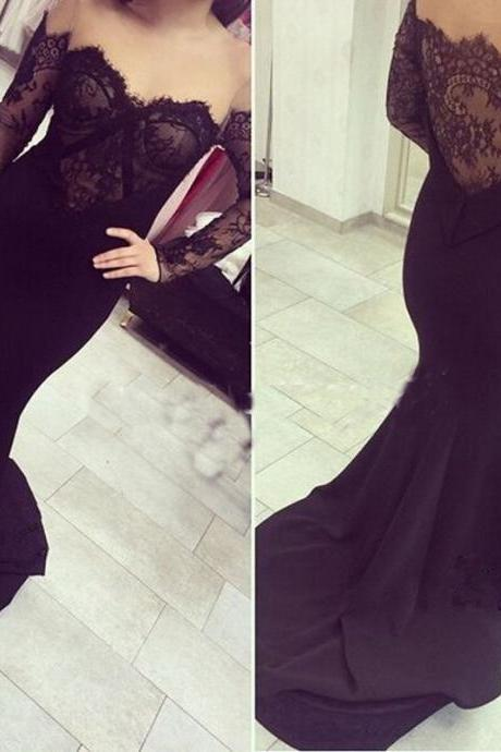 Black Prom Dresses,Lace Evening Dress,Sexy Prom Dress,Prom Dresses With Long Sleeves,Charming Prom Gown,Open Back Prom Dress,Mermaid Fashion Evening Gowns for Teens