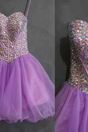 Lilac Homecoming Dress,Homecoming Gown,Tulle Homecoming Gowns,Party Dress,Strapless Prom Dresses,Ruffled Cocktail Dress,Formal Gown