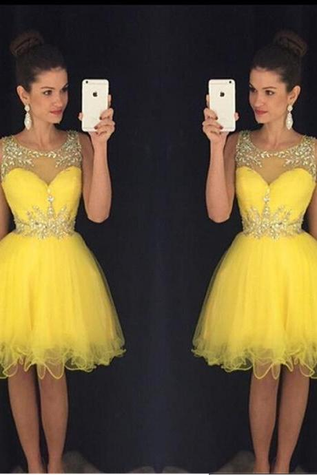 Yellow Homecoming Dress,Short Prom Gown,Tulle Homecoming Gowns,A Line Beaded Party Dress, Elegant Prom Dresses