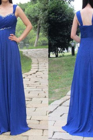 Prom Gown,Royal Blue Prom Dresses,Royal Blue Evening Gowns,Beaded Party Dresses,Chiffon Evening Gowns,Backless Formal Dress For Teen