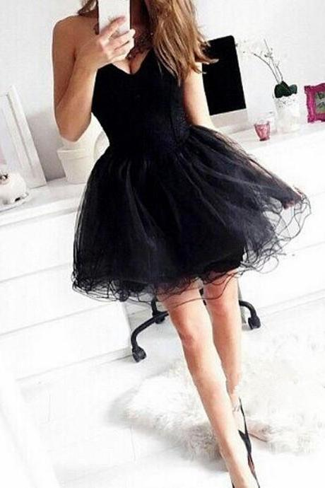 Black Homecoming Dresses,Tulle Homecoming Dress,Party Dress,Prom Gown,Sweet 16 Dress,Cocktail Gowns,Short Evening Gowns