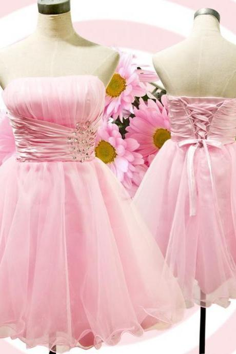 Tulle Homecoming Dress,Pink Homecoming Dress,Cute Homecoming Dress,Fashion Homecoming Dress,Short Prom Dress,Pink Homecoming Gowns,Beaded Sweet 16 Dress,Short Evening Gowns