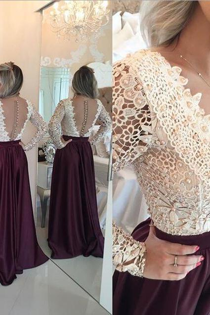 Wine Red Prom Dresses,Charming Evening Dress,Burgundy Prom Gowns,Lace Prom Dresses,New Prom Gowns,Evening Gown,Backless Party Dresses