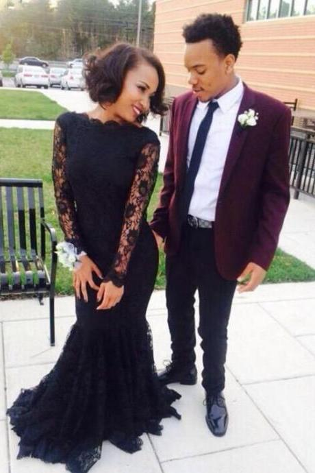 Black Prom Dresses,Mermaid Prom Dress,Lace Prom Dress,Lace Prom Dresses,Formal Gown,Long Sleeves Evening Gowns,Party Dress,Lace Prom Gown For Teens