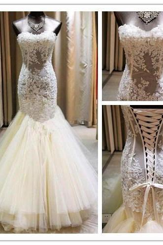 Strapless Sweetheart Sheer Lace Appliqués Mermaid Wedding Dress Featuring Lace-Up Back and Long Train