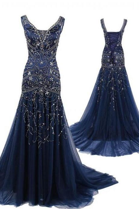 Navy Blue Prom Dresses,V neckline Prom Dress,Sexy Prom Dress,Dark Navy Prom Dresses,Formal Gown,Tulle Evening Gowns,Party Dress,Prom Gown For Teens