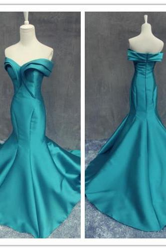 Prom Gown,Pretty Off Shoulder Burgundy Prom Dresses With Satin, Evening Gowns,Blue Formal Dresses,,Blue Prom Dresses