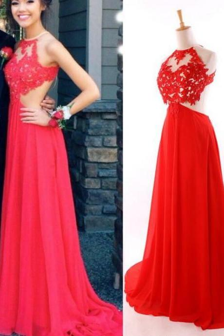 Red Prom Dresses,Charming Evening Dress,White Prom Gowns,Lace Prom Dresses,New Prom Gowns,Red Evening Gown,Backless Party Dresses