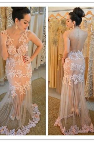 Champagne Prom Gown,Sexy Prom Dresses,Lace Evening Gowns,Mermaid Party Dresses,Tulle Evening Gowns,Modest Formal Dress,Champagne Evening Gown For Teens