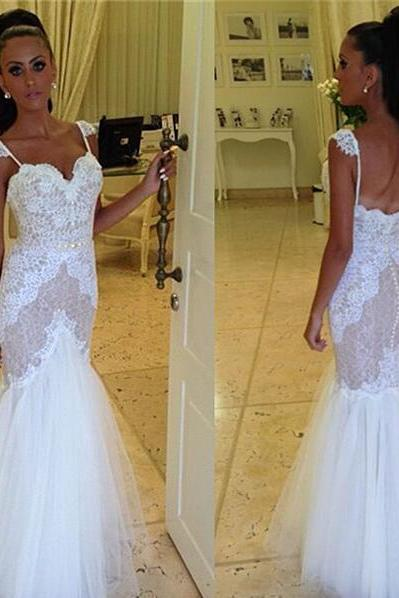 Sleeveless Sweetheart Lace Appliqués Mermaid Floor-Length Wedding Dress Featuring Open Back
