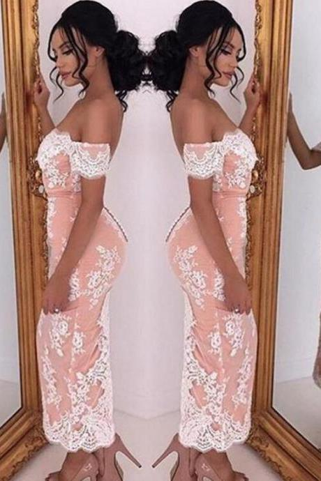 Prom Gown,Pink Prom Dresses With Lace,Off The Shoulder Evening Gowns,Mermaid Formal Dresses,Pink Prom Dresses