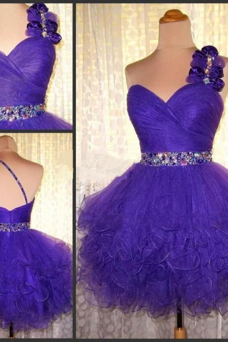 One Shoulder Homecoming Dress,Grape Homecoming Dresses,Chiffon Homecoming Dress,Grape Party Dress,Grape Short Prom Gown,Backless Sweet 16 Dress,Homecoming Gowns