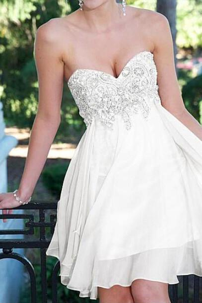 White Homecoming Dress,Sparkle Homecoming Dresses,Beautiful Homecoming Gowns,Short Prom Gown,Sweet 16 Dress,Cute Homecoming Dresses,Cocktail Dress,Fitted Formal Dress