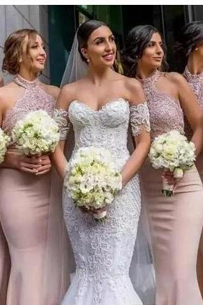 Blush Mermaid Bridesmaid Dresses, with Halter Neckline Sleeveless Bridesmaid Dress,Floor Length Beadeds Appliques Bridesmaid Dresses,Trumpet Pink Prom Party Gown